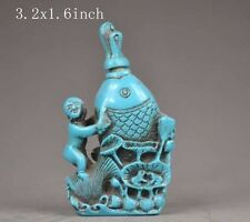 China's handmade old exquisite decorations turquoise snuff bottle-child fish NR