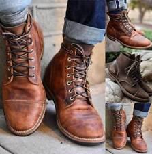 Men's Lace Up Boots Motorcycle Punk Combat Military Tactical Cowboy Biker Shoes
