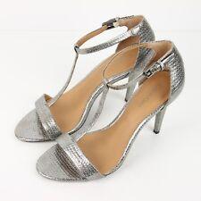 Calvin Klein Nasi T-Strap High Heels 7.5 Metallic Snake Print Sandal Pumps Shoes