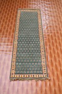 Afghan Carpet Green Colour Runner Turkish Wool Rugs Corridor Bohemian 2x6 foot