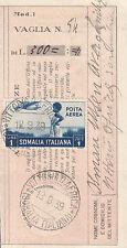 ITALIA COLONIE SOMALIA RICEVUTA di VAGLIA POSTALE da VITTORIO D'AFRICA 1939 L. 1