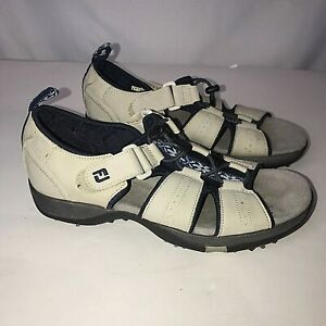 Footjoy Greenjoys Womens Golf Sandals Shoes Cleats Beige Blue Size 8