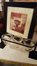 DOUBLE MATTED BLACK FRAME WALL ART AND THICK BLACK IRON CANDLE HOLDER SET