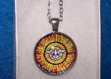 Dove Peace Love pendant Shiny Silver necklace Men female Free Keychain Gift Box