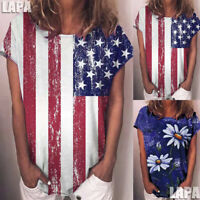 LAPA Women's American Flag Short Sleeve T-Shirt Tops For 4th of July Blouse Tee