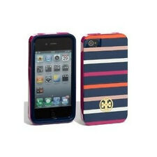 NEW TORY BURCH NAVY PINK CLASSIC STRIPED IPHONE 4 4S HARDSHELL CASE