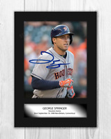 George Springer Houston Astros A4 signed mounted photograph. Choice of frame.