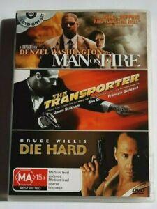 Man on Fire + The Transporter + Die Hard - 3 Disc  PAL DVD R4 VGC