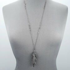 Antique Silver Chain Bohemian Style Simple Long Metal Feather Pendant Necklace