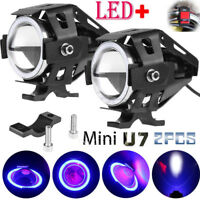 U7 Angel Eyes Light Faros de la motocicleta LED Foco antiniebla interruptor Set