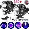 U7 Angel Eyes Light Faros de la motocicleta LED Foco antiniebla interruptor Set