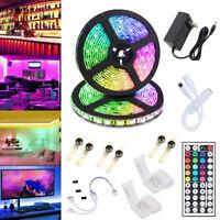 32.8 Feet RGB Waterproof LED Strip Light SMD 44 Key Remote DC 12V Power Kit 5050
