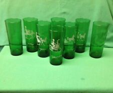 8 Vintage Anchor Hocking Forest Green Christmas Glasses Tumblers