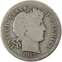 1913 Barber Dime AG About Good 90% Silver 10c US Type Coin Collectible