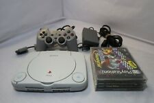 Sony Playstation PS One Video Game Console Lot W/4 games TESTED!!