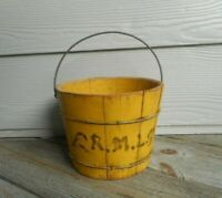 Antique Primitive Six Inch Wooden Bucket in Original Chrome Yellow Paint AAFA