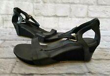 Teva Womens Size 9.5 Capri Edge Wedge Sandal Black Leather Open Toe 1003969 NEW