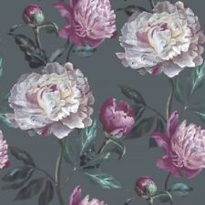 EUR 5,63/qm /Tapete Smita Valentina Floral Große Blumen Dunkelblau Lila VA 19963