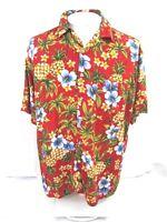 CASTAWAYS Men Hawaiian ALOHA shirt pit 2 pit 25.5 XL rayon floral camp luau tiki