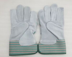 double palm leather rigger work gloves gauntlets heavy duty green / grey cat A+