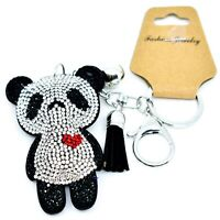 Pave Crystal Accent 3D Stuffed Pillow Panda Bear Keychain Key Chain New w Tag