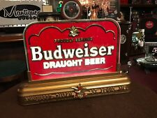 "Budweiser Draught Beer Reverse Glass Backlit Sign ""Watch Video"""