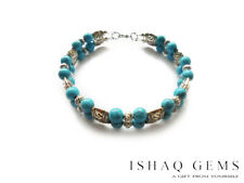 Natural Turquoise Gemstone and Tibet Silver Charm Bracelet Women's Gifts for Her