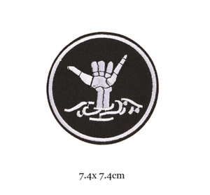 Skeleton Hand - Rider Biker Iron on Embroidery Cloth Patch Sew on Badge - Jacket
