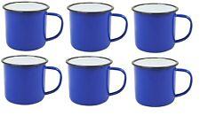 BLUE Enamel Mugs Cups Retro Camping Outdoor Coffee Tea Mug Cup 360ml x 6