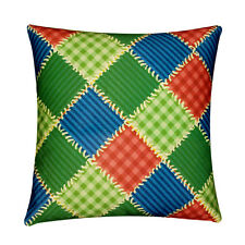Green Orange Check Vintage Print 100% Twill Cotton Cushion Cover for Sofa Bed