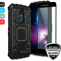 For LG Aristo 4 Plus/K30 2019 Phone Case Metal Magnetic Support +Tempered Glass
