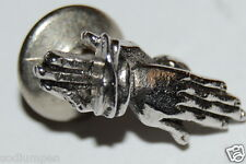 Nice Vintage Silver Tone Moving Hands Praying Clap Men's Tie Tack Clasp Rare