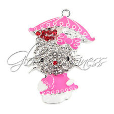 1PC 49x32.5mm Pink Cat Charm Pendant for Bubblegum Chunky Bead Necklace
