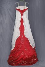 Sleeveless Beaded Satin A-Line Wedding Gown w/ Chapel Train  Red & White
