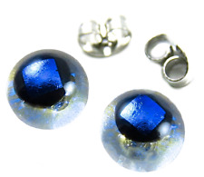 """DICHROIC GLASS Post EARRINGS 1/4"""" 9mm Tiny Clear Opal Cobalt Blue Fused STUDS"""