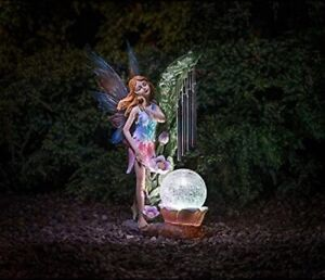 Solar Powered Stylish Garden Fairy With Ultra Bright Led Light And Wind Chime