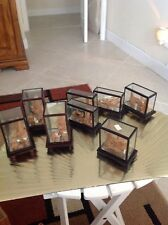 8 Vintage Carved Wood City With Glass Japanese Art