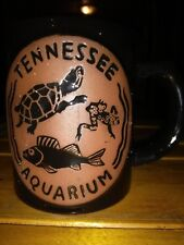 "Tennessee Aquarium Tall 4"" Souvenir 3D Turtle Fish Frog Black Stoneware Mug nice"