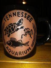 "Tennessee Aquarium Tall 4"" Souvenir 3D Turtle Fish Frog Black Stoneware Mug nice"