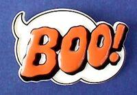 Hallmark PIN Halloween Vintage BOO Caption Orange White Holiday Brooch