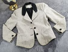 Cross Country Fashions Womens Tweed-style Jacket 2 Button Contrast Collar Sz 10