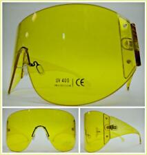 OVERSIZED EXAGGERATED VINTAGE RETRO SHIELD XL VISOR Style SUNGLASSES Yellow Lens