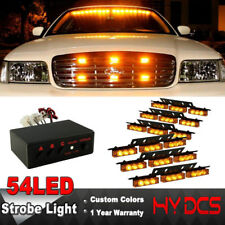 54 LED Emergency Warning Car Truck Front Grill Strobe Flash Light Amber Yellow