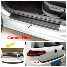 5pc 3D Carbon Fiber Car Door Sill Trunk Tail Lip Anti Scratch Stickers Protector