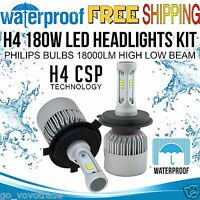 H4 180W LED Headlight Kit Philips Bulb 18000LM High Low Beam Halogen Xenon