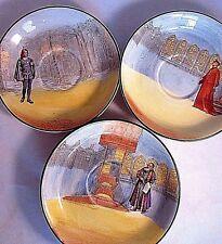 Vintage Royal Doulton Shakespeare Series Saucers 3 Pcs Hamlet, Shylock & Wolsey