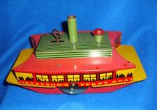 Vintage Lindstrom Tin Wind Up Ferry Boat With Key Working Condition