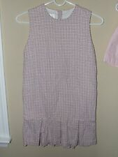 Strasburg Sz 6 Pink Gray Plaid Pleated Sleeveless Dress Boutique Easter Spring