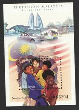 MALAYSIA 2002 UNITY (FLAG, TWIN TOWERS, TRAIN) SOUVENIR SHEET OF 1 STAMP IN MINT