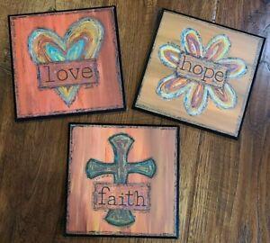 Set 3 Faith Hope & Love Wall Art Decoration Show Offs Art Square Wood Plaques